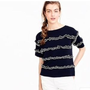 J. Crew Ruffle Boatneck Sweater